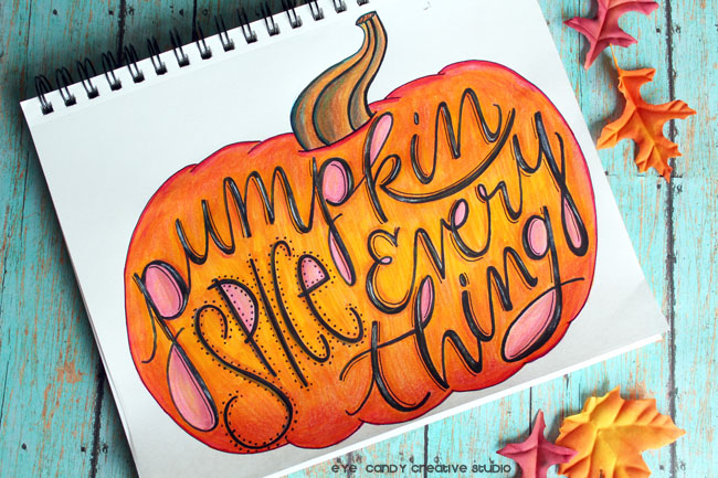 pumpkin illustration, fall art, pumpkin spice art, hand illustration, tombow