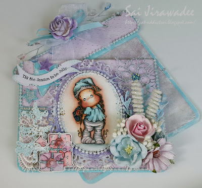 Magnolia Lace Hood Tilda Pastel Present Shaped Card