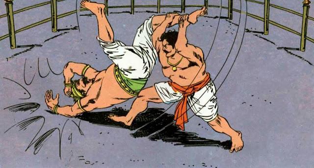 Wrestling between Jarasandha and Bhima