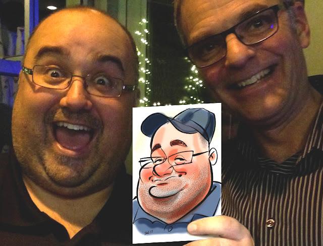 caricature en direct événement party noël cadeau selfie