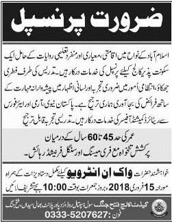Cadet College Fateh Jang Jobs for Principal, Walk in Interview 2018