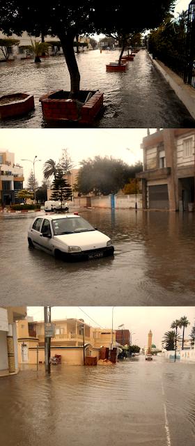 المهدية : أمطار طوفانية تتسبب في غلق الطرقات والحماية تتدخل