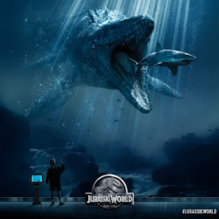Mosasaurus chasing killing eating great white shark Jurassic World poster image picture wallpaper screensaver