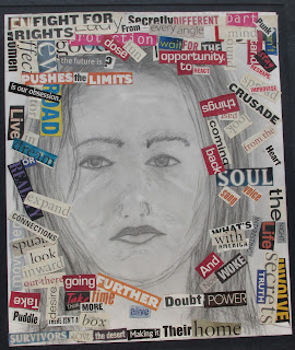 Drawing of a woman's head surrounded by words fit together into sections of poetry.
