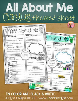 Cactus Themed All About Me Writing Sheet