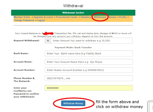 coolnaira withdrawal page
