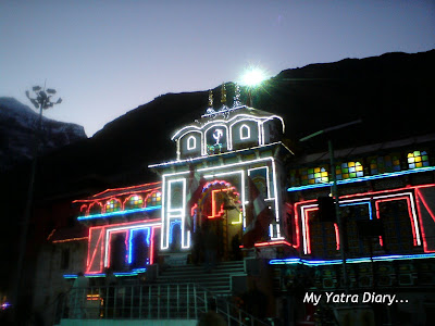 A side view of the Badrinath Temple on the Diwali night in Garhwal Himalayas in Uttarakhand