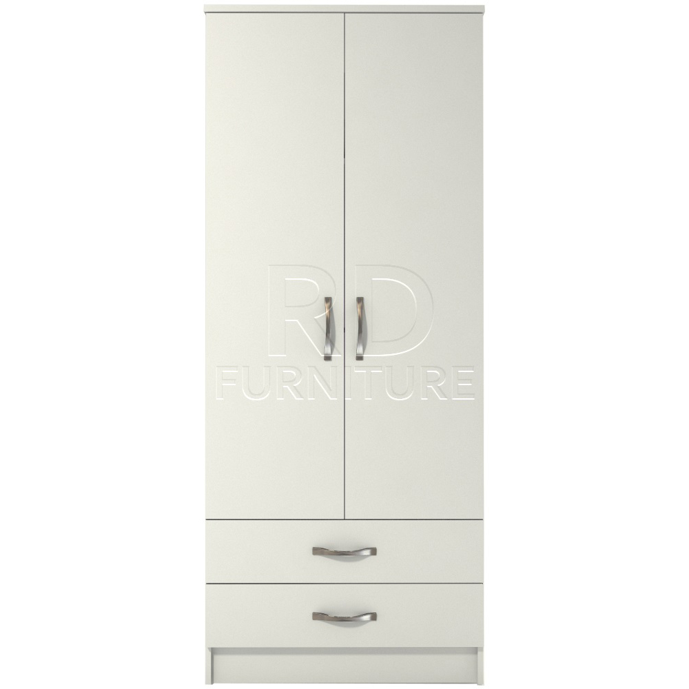 Classic 2 door 2 drawer wardrobe white finish rdfurniture for Wardrobe door finishes