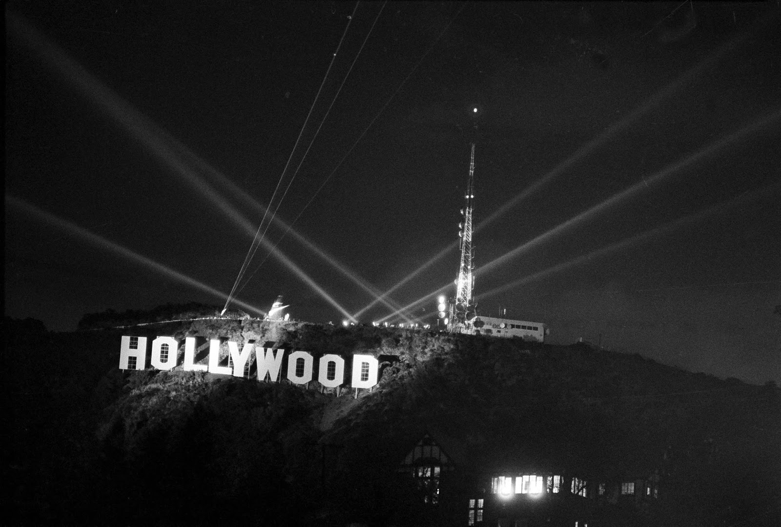 Amid Laser Beams And Searchlights The New Hollywood Sign Near Top Of Mt Lee In Los Angeles Is Unveiled After Its Dedication Nov 11 1978
