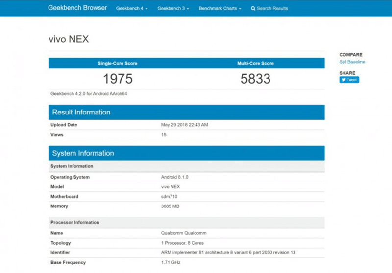 Vivo NEX with SD710 SoC spotted on Geekbench