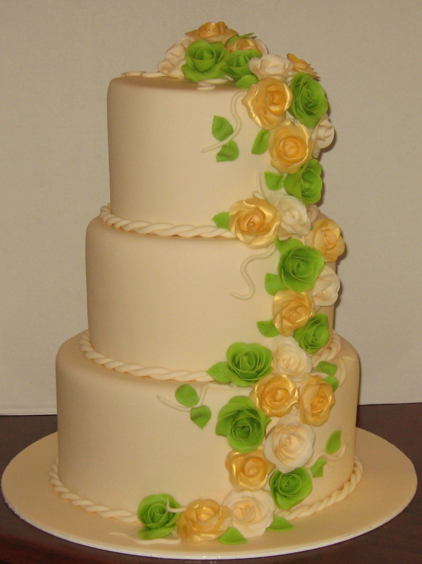 Let Them Eat Cake Apple Green And Gold Roses Wedding Cake