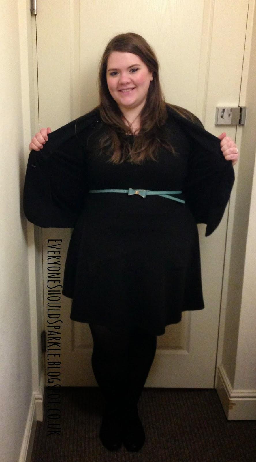 58f83e734426a plus size and curvy smart work outfit idea   black George   Asda blazer  jacket   primark black skater dress   black ballet flats   tights