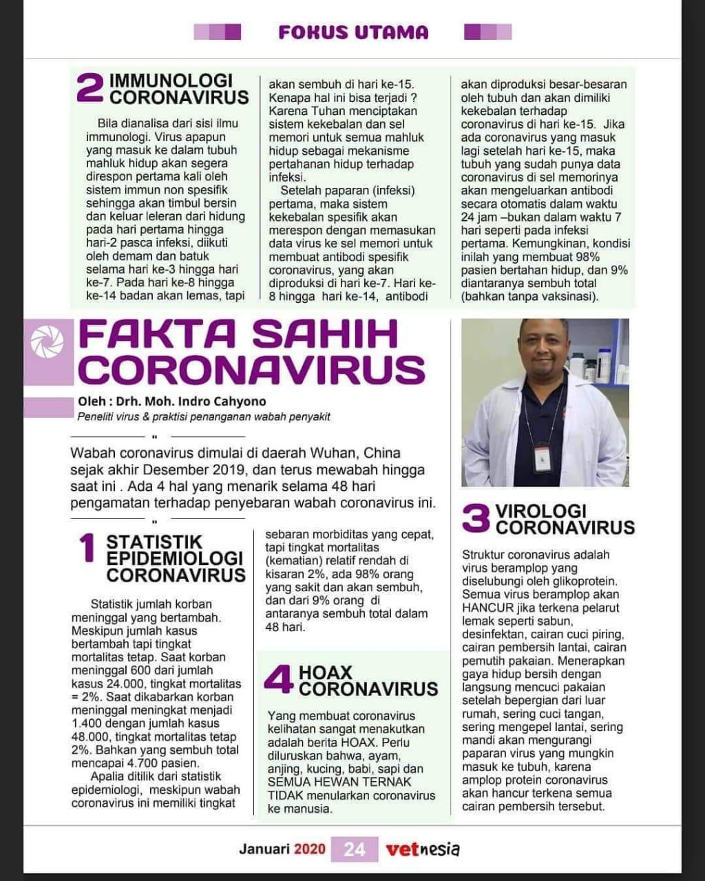 4 Fakta Tentang Virus Corona Menurut Drh. Moh. Indro Cahyono
