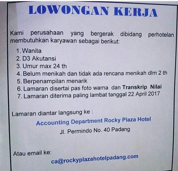 Lowongan Kerja Padang: Rocky Plaza Hotel April 2017