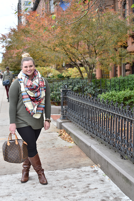 asos-plaid-blanket-scarf-olive-green-sweater-high-bun-riding-boots-jcrew-pixie-pant-louis-vuitton-speedy-30-david-yurman-michael-kors-pearl-earrings