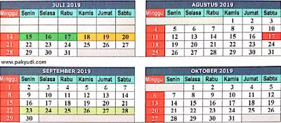 Kalender Pendidikan Th. Ajaran 2019 - 2020 Untuk TK, SD, SMP, SMA, SMK, SLB Provinsi Jawa Barat