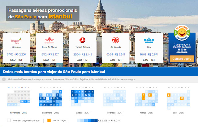Buscador de promoções de passagens aéreas para Turquia