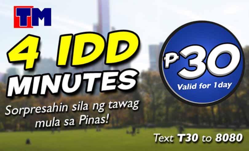 TM TipiDD 30 - International IDD Minutes Call Promo for 30 Pesos