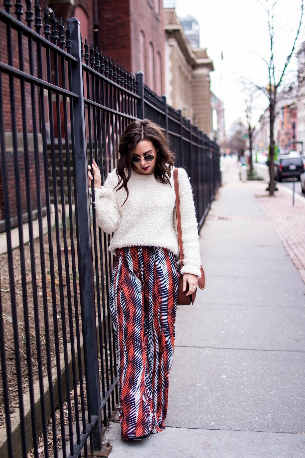 oversized wool sweater. printed pants. dc blogger.