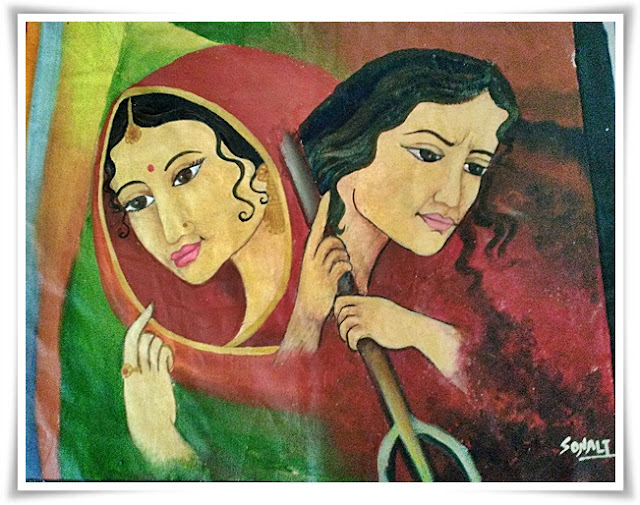 Oil Painting - Woman 2 form - Indian Painting