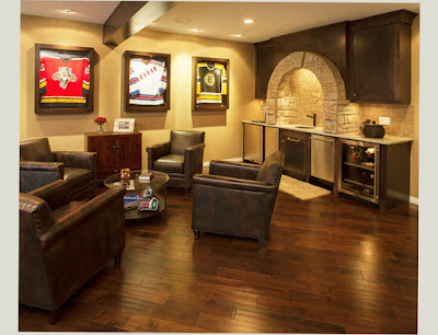 Photo of Cheap Basement Man Cave Ideas With 3 Big Painting on The Wall and 4 Chair 1 Glass Table