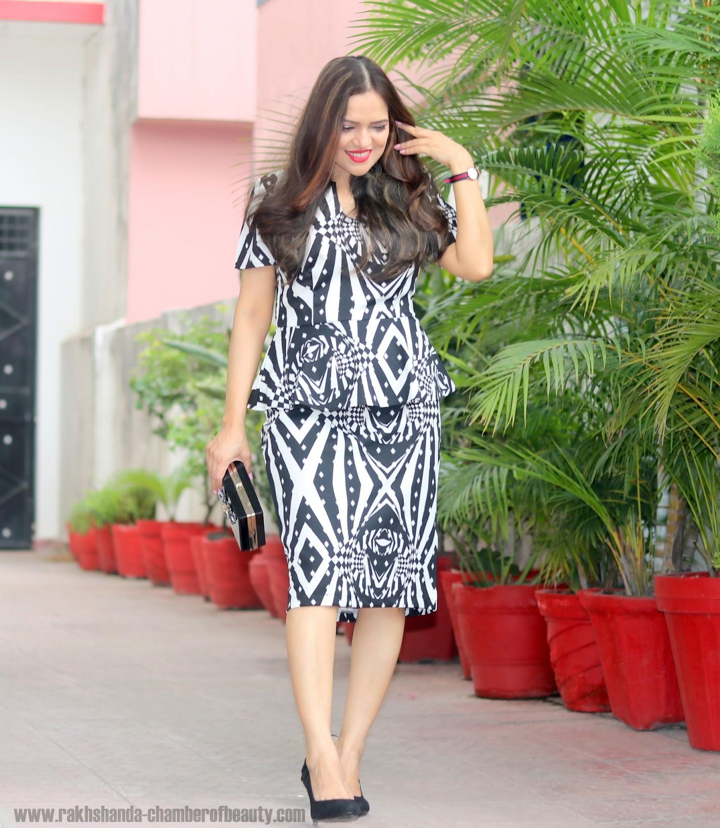 The monochrome fashion trend, Everyhting5pounds Peplum dress, Indian fashion blogger, Chamber of Beauty
