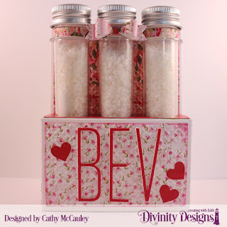 Divinity Designs Paper Collection: Pretty Pink Peonies, Embossing Folder: Cross Stitch, Custom Dies: Test Tube Trio, Long & Lean Letters, Layering Hearts, Large Test Tubes