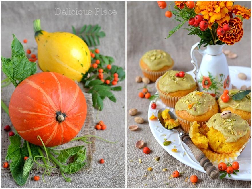 Muffinki dyniowe w pistacjowym lukrze