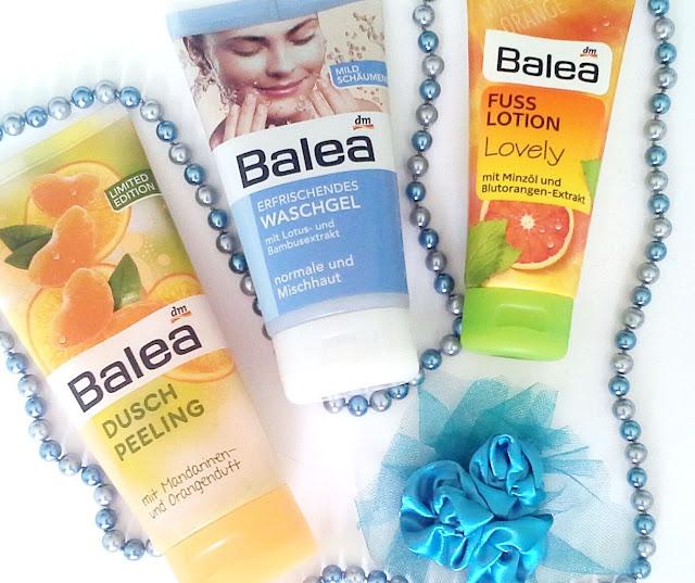 balea dusch peeling, washgel, fuss lotion