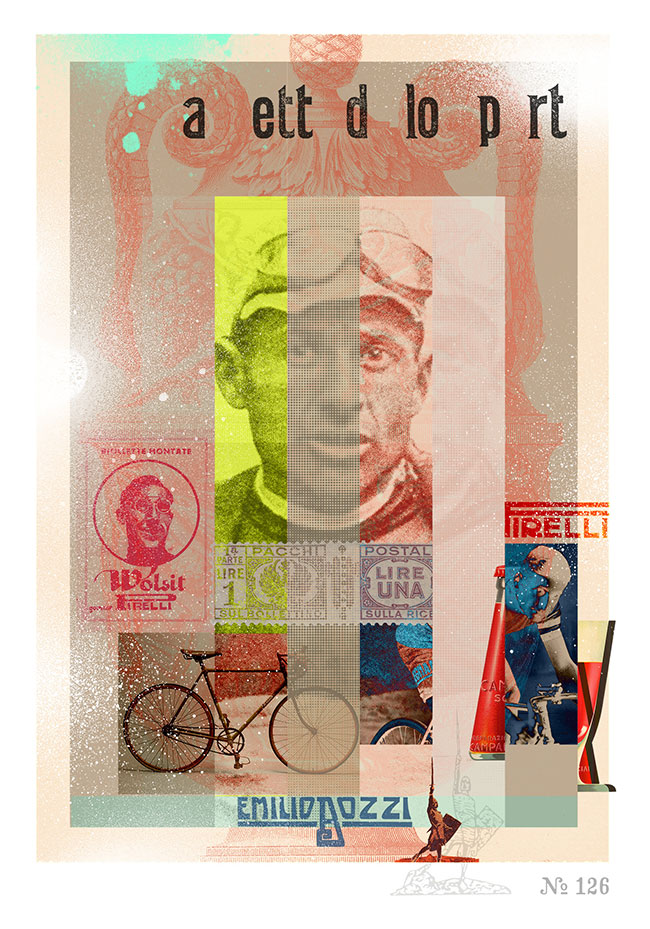 A Giro d'Italia limited edition cycling artwork created by artist James Straffon