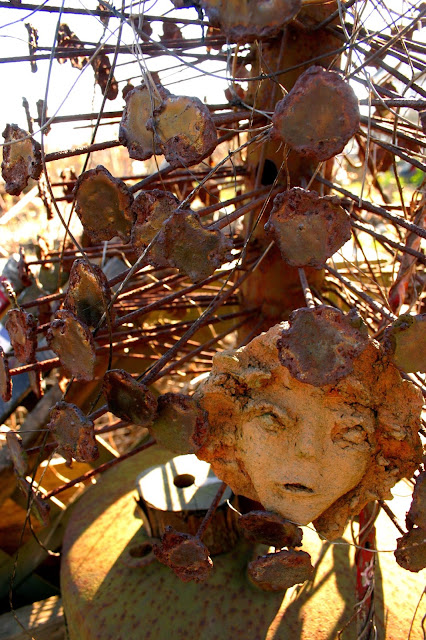 Garden decor with found objects: face