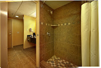 Walk-in tiled shower in the Smokies