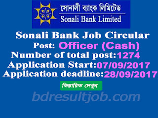 Sonali Bank Limited (SBL) Officer (Cash) Job Circular 2017