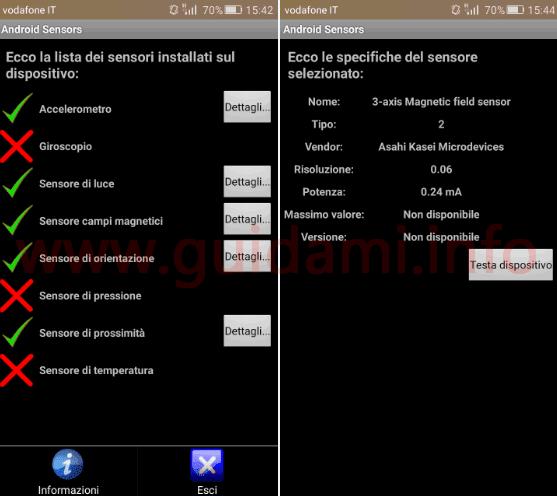 Android Sensors applicazione