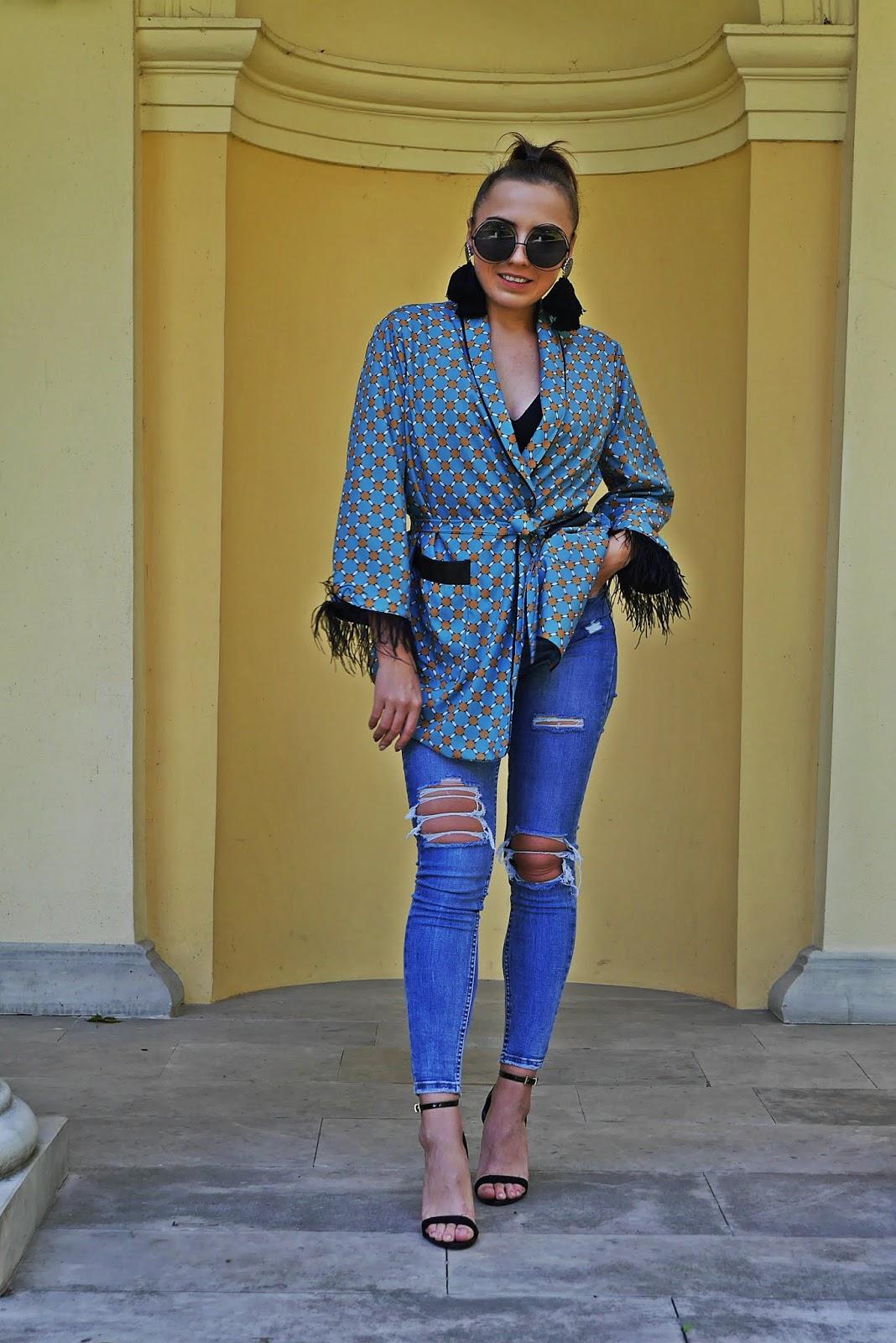 shein pattern kimono denim pants high heels black sunglasses karyn blog modowy