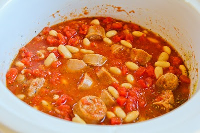 Slow Cooker Cannellini Bean Stew with Tomatoes, Italian Sausage, and Kale found on KalynsKitchen.com.