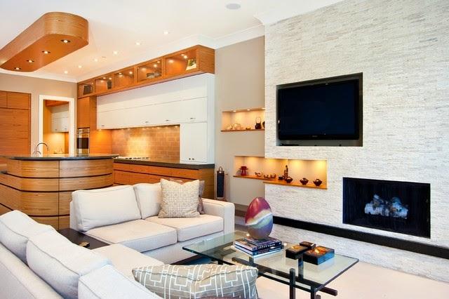 sala decorada con chimenea