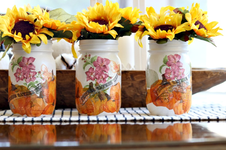 Trio of handpainted and decoupage pint jars