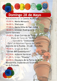 Feria de la Manzanilla 2017 - Programa día 28 de mayo