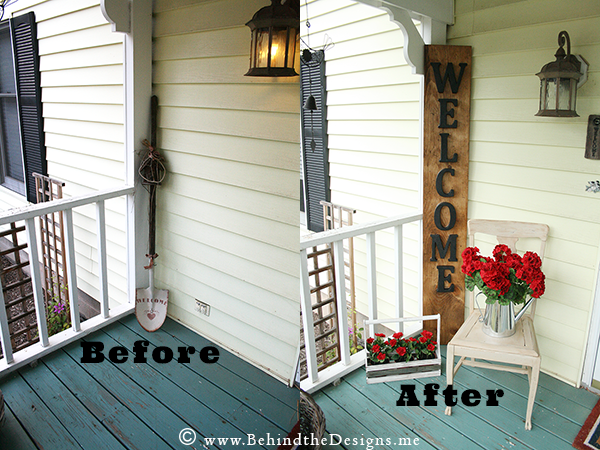 Before and After: DIY Decorating Summer Porchscape in Wood, Metal and Geraniums | Behind the Designs Craft Blog