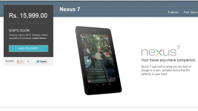 Google Nexus lovers in India get the 16GB Nexus 7 today