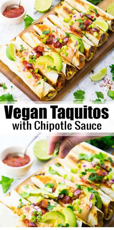 Vegan Taquitos With Chipotle Sauce