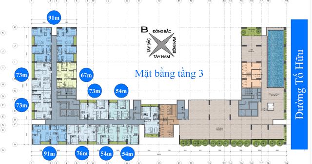 mặt bằng tầng 3 chung cư anland nam cường