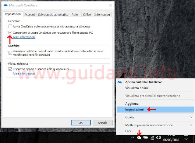 OneDrive desktop attivare impostazione