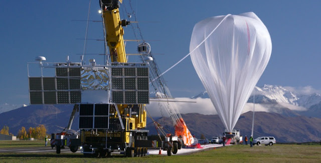 NASA's super pressure balloon is seen here just before lift-off May 17 with the Compton Spectrometer and Imager (COSI) payload seen in the foreground. The balloon lifted off at 11:35 a.m. May 17 from Wanaka Airport, New Zealand. (NASA/Bill Rodman)