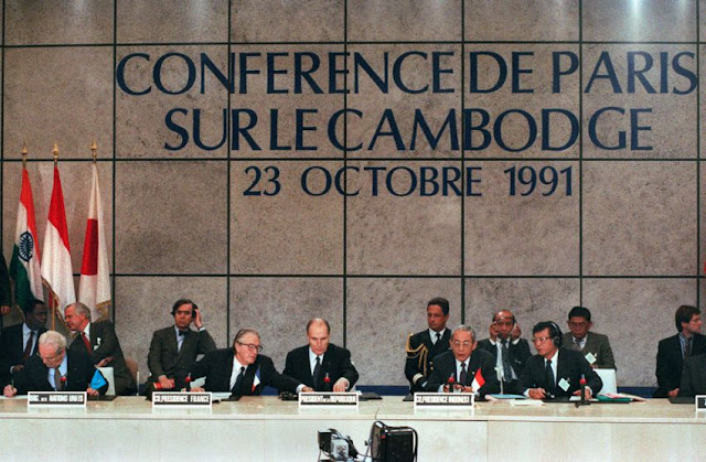 On October 23, 1991, the Paris Peace Accords were signed by 19 participating countries, and included the creation of UNTAC. Eric Feferberg/AFP