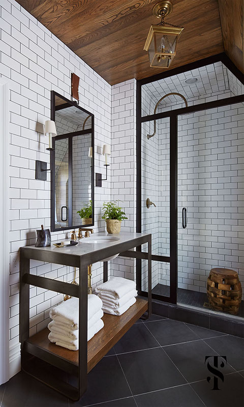 Bathroom with Eclectic and Classic Decor in French Tudor Renovation by Summer Thornton on Hello Lovely