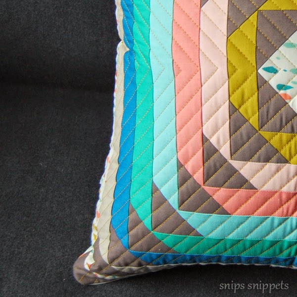 wild goose stampede pillow - quilted with Aurifil Brass
