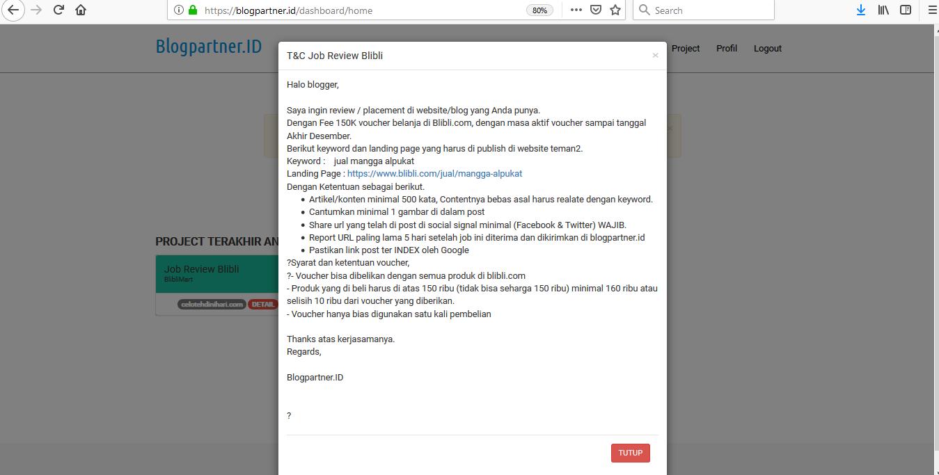 Join Blogpartner.Id, Ngeblog Dapat Komisi Voucher Belanja Dari Blibli.Com