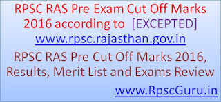 RPSC RAS Pre Exam Cut Off Marks, Results and Merit List 2016